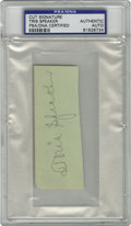 Autographs:Letters, Tris Speaker Cut Signature PSA Authentic. The number seven man tobe elected into Baseball's Hall of Fame here provides a t...