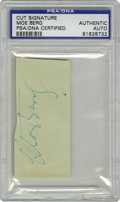 Autographs:Letters, Moe Berg Cut Signature PSA Authentic. One of the foremost scholarsin the history of baseball here offers a desirable cut s...