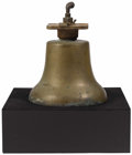 Bronze:American, An American Bronze Train Bell. Unknown Maker, USA. Nineteenth century. Cast Bronze. Unmarked . 16 inches high x 10 inches ...