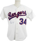 Autographs:Jerseys, Nolan Ryan Signed Jersey. Nolan Ryan here has signed a white homereplica of the Texas Rangers jersey he wore up until his ...