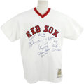Autographs:Jerseys, 1975 Boston Red Sox Team Signed Jersey. Brilliant Mitchell and Ness throwback jersey designed in the style worn by the 1975...