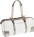 Luxury Accessories:Bags, Lanvin White Leather Large Bowling Bag with Metallic Trim. ...