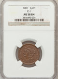Half Cents: , 1851 1/2 C AU58 NGC. C-1. NGC Census: (95/346). PCGS Population(77/197). Mintage: 147,672. Numismedia Wsl. Price for prob...