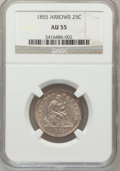 Seated Quarters: , 1855 25C Arrows AU55 NGC. NGC Census: (18/78). PCGS Population(10/80). Mintage: 2,857,000. Numismedia Wsl. Price for probl...