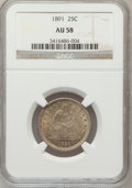 Seated Quarters: , 1891 25C AU58 NGC. NGC Census: (58/470). PCGS Population (69/482).Mintage: 3,920,600. Numismedia Wsl. Price for problem fr...