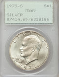 Eisenhower Dollars: , 1973-S $1 Silver MS65 PCGS. PCGS Population (550/5746). NGC Census:(370/1385). Mintage: 869,400. Numismedia Wsl. Price for...