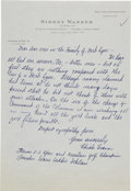 Golf Collectibles:Autographs, 1960's Chick Evans Handwritten Signed Letter....