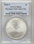 Modern Issues, 2002-P $1 Olympics Salt Lake City Silver Dollar MS64 PCGS. PCGSPopulation (1/2228). NGC Census: (0/1381). Numismedia Wsl....