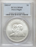 Modern Issues: , 2003-P $1 First Flight Silver Dollar MS68 PCGS. PCGS Population(20/1832). NGC Census: (15/2973). (#21002)...