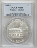 Modern Issues: , 2001-P $1 Capitol Visitor's Center Silver Dollar MS68 PCGS. PCGSPopulation (45/1503). NGC Census: (18/1627). Numismedia W...
