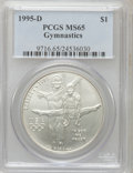 Modern Issues: , 1995-D $1 Olympic/Gymnastics Silver Dollar MS65 PCGS. PCGSPopulation (1/2055). NGC Census: (0/1353). Numismedia Wsl. Pric...