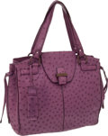 Luxury Accessories:Bags, Salvatore Ferragamo Purple Ostrich Large Tote. ... (Total: 2 Items)