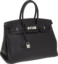 Luxury Accessories:Bags, Hermes 35cm Black Clemence Leather Birkin Bag with PalladiumHardware. ...