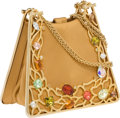Luxury Accessories:Bags, Judith Leiber Gold Satin Bag with Oversized Jewels. ...
