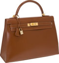 Luxury Accessories:Bags, Hermes 32cm Noisette Calf Box Leather Rigide Kelly Bag with GoldHardware. ...