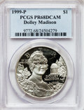 Modern Issues: , 1999-P $1 Dolley Madison Silver Dollar PR68 Deep Cameo PCGS. PCGSPopulation (106/2520). NGC Census: (23/2252). Numismedia...