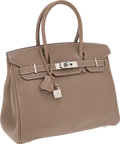 Luxury Accessories:Bags, Hermes 30cm Etoupe Swift Leather Birkin Bag with PalladiumHardware. ...