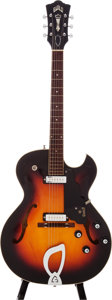 Musical Instruments:Electric Guitars, 1966 Guild T-100D Sunburst Semi-Hollow Body Electric Guitar, Serial# EE1794...