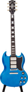 Musical Instruments:Electric Guitars, 2008 Gibson SG Custom Blue Sparkle Solid Body Electric Guitar,Serial # CS83268...