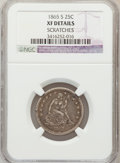 Seated Quarters: , 1865-S 25C -- Scratched -- NGC Details. XF. NGC Census: (5/24).PCGS Population (5/19). Mintage: 41,000. Numismedia Wsl. Pr...