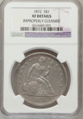 Seated Dollars: , 1872 $1 -- Improperly Cleaned -- NGC Details. XF. NGC Census:(33/273). PCGS Population (66/329). Mintage: 1,106,450. Numis...
