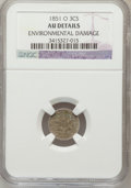 Three Cent Silver: , 1851-O 3CS -- Environmental Damage -- NGC Details. AU. NGC Census:(4/386). PCGS Population (15/402). Mintage: 720,000. Num...