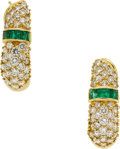 Estate Jewelry:Earrings, Diamond, Emerald, Gold Earrings, Hammerman Bros.. ...