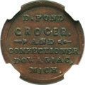 Civil War Merchants, 1863 D. Pond, Dowagiac, MI, F-250E-1a, R.8, AU55 NGC. ...