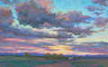 Texas, MICHAEL ETIE (American, b. 1948). Sunset on the Ranch.Pastel on board. 17-3/4 x 28-3/4 inches (45.1 x 73.0 cm). Signed...