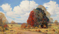 Texas:Early Texas Art - Regionalists, DWIGHT HOLMES (American, 1900-1986). Country Road, near Athens,Texas, 1948. Oil on canvas . 24-1/2 x 40-1/4 inches (62....