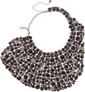 Luxury Accessories:Accessories, Chanel Important Black Glass and Crystal Cabochon Bib Necklace. ...