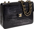 Luxury Accessories:Bags, Chanel Black Shiny Crocodile Jumbo Classic Single Flap Bag with Gold Hardware. ...