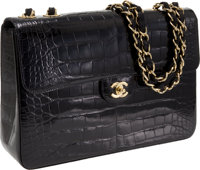 Chanel Black Shiny Crocodile Jumbo Classic Single Flap Bag with Gold Hardware