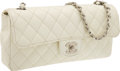 Luxury Accessories:Bags, Chanel White Caviar Leather East-West Single Flap Bag with SilverHardware. ...