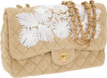 Luxury Accessories:Bags, Chanel Limited Edition Classic Jumbo Single Flap Bag with WovenToile and White Flower Straw Detail with Gold Hardware. ...