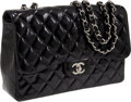 Luxury Accessories:Bags, Chanel Black Patent Leather Jumbo Classic Single Flap Bag withSilver Hardware. ...