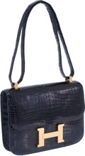 Luxury Accessories:Bags, Hermes 23cm Indigo Porosus Crocodile Constance Bag with GoldHardware. ...