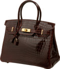 Luxury Accessories:Bags, Hermes 30cm Shiny Bordeaux Nilo Crocodile Birkin Bag with GoldHardware. ...