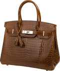 Luxury Accessories:Bags, Hermes 30cm Miel Shiny Porosus Crocodile Birkin Bag with PalladiumHardware. ...