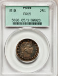 Proof Barber Quarters, 1910 25C PR65 PCGS....