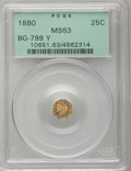 California Fractional Gold: , 1880 25C Indian Octagonal 25 Cents, BG-799Y, High R.4, MS63 PCGS.PCGS Population (24/23). NGC Census: (1/9). (#10651)...