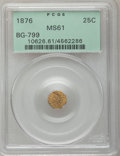 California Fractional Gold: , 1876 25C Indian Octagonal 25 Cents, BG-799, At least High R.6, MS61PCGS. PCGS Population (2/85). NGC Census: (0/9). (#10...