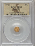 California Fractional Gold: , 1872/1 25C Indian Octagonal 25 Cents, BG-790, R.3, MS62 PCGS. PCGSPopulation (14/123). NGC Census: (3/4). (#10617)...