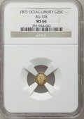 California Fractional Gold: , 1873 25C Liberty Octagonal 25 Cents, BG-728, R.3, MS66 NGC. NGCCensus: (7/3). PCGS Population (24/2). (#10555)...