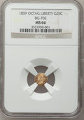 California Fractional Gold: , 1859 25C Liberty Octagonal 25 Cents, BG-702, R.3, MS66 NGC. NGCCensus: (20/2). PCGS Population (2/0). (#10529)...