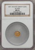 California Fractional Gold: , 1871 25C Liberty Round 25 Cents, BG-839, Low R.4, MS62 NGC. NGCCensus: (6/2). PCGS Population (42/24). (#10700)...