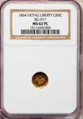 California Fractional Gold: , 1864 50C Liberty Octagonal 50 Cents, BG-917, R.4, MS62 ProoflikeNGC. NGC Census: (2/0). (#710775)...