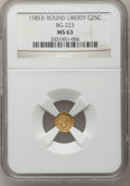 California Fractional Gold: , Undated 25C Liberty Round 25 Cents, BG-223, Low R.4, MS63 NGC. NGCCensus: (3/8). PCGS Population (32/24). (#10408)...