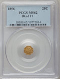 California Fractional Gold: , 1856 25C Liberty Octagonal 25 Cents, BG-111, R.3, MS62 PCGS. PCGSPopulation (84/125). NGC Census: (21/26). (#10380)...