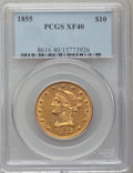 Liberty Eagles: , 1855 $10 XF40 PCGS. PCGS Population (18/199). NGC Census: (11/473).Mintage: 121,701. Numismedia Wsl. Price for problem fre...